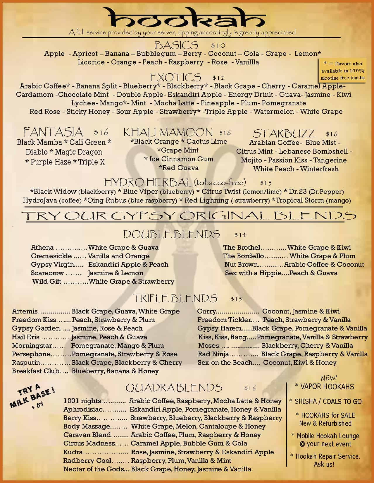 Hookah Menu - Juggling Gypsy: Bar Cafe & Hookah Lounge
